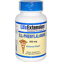 DL-Фенилаланин (D, L-Phenylalanine) Life Extension 500 мг 100 капсул