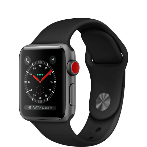 Apple Watch Series 3 GPS + LTE 38mm Space Gray Aluminum Case with Black Sport Band (MQKG2)