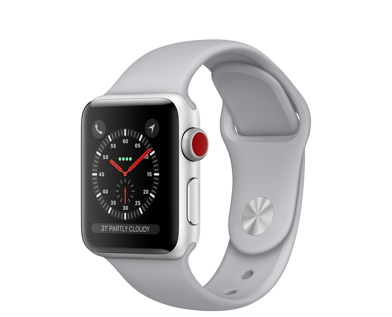 Apple Watch Series 3 GPS + Cellular 38mm Silver Aluminum with Fog Sport Band (MQJN2)