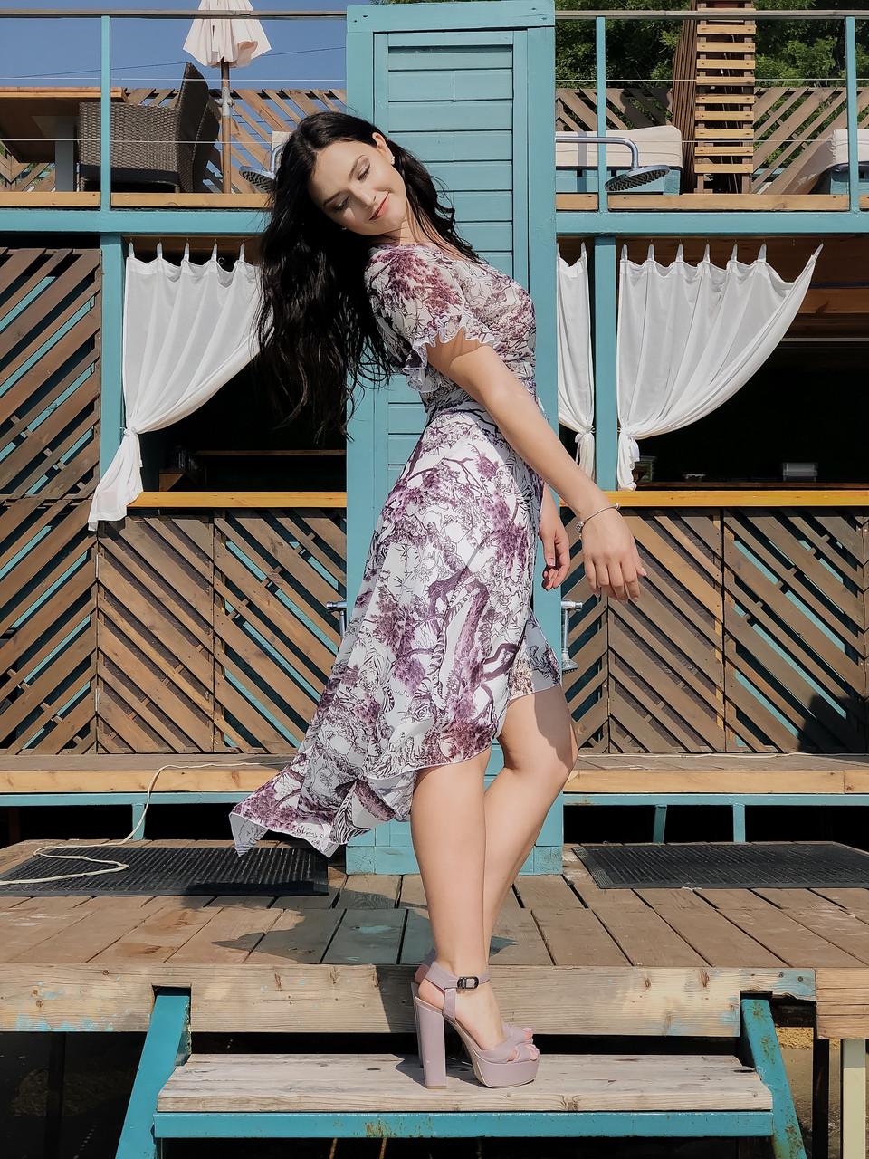Коктейльное шифоновое платье 4072