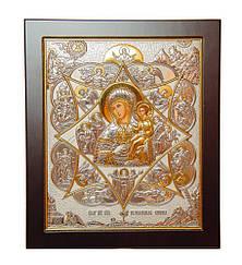 Икона Богородица Неополимая купина 20х25см в серебре 925 пробы и позолоте