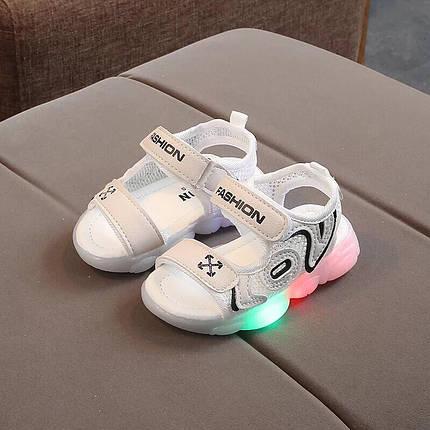 Босоножки детские с LED подсветкой  28-29 р. белые, фото 2
