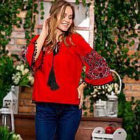 Современная женская вышиванка в этно-стиле красная