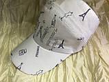 Женская бейсболка  белая из тонкого армированного хлопка  с большим вырезом для волос, фото 4