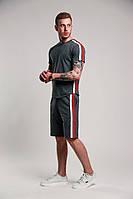 Мужской летний комплект шорты футболка с лампасами серый