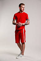 Мужской летний комплект шорты футболка с лампасами красный