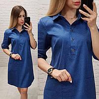 Платье-рубашка, модель 831, цвет - джинс в горох