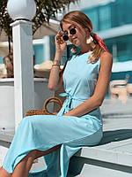 Платье модное летнее в пол прямого кроя с разрезом на поясе разные цвета Sml2443