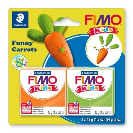 """Набор полимерной глины Фимо FIMO Kids """"Веселые морковки"""", 2шт.глины в наборе"""
