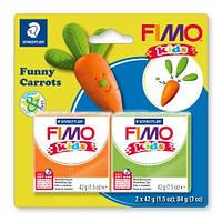 """Набор полимерной глины Фимо FIMO Kids """"Веселые морковки"""", 2шт.глины в наборе, фото 1"""