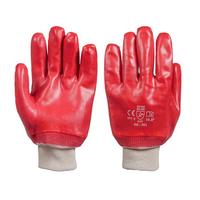 Рукавички робітники червоні МБС на трикотажній основі (маслобензостойкие) Польскі