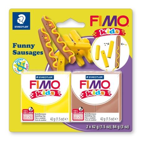 """НОВИНКА! Набор полимерной глины Фимо FIMO Kids """"Веселые колбаски"""", 2шт.глины в наборе"""