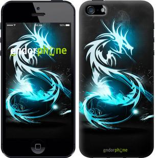 """Чехол на iPhone 5 Бело-голубой огненный дракон """"113c-18-571"""""""