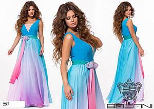 Платье вечернее без рукав амбре масло+евро-сетка 42-46
