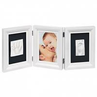 Двойная рамочка с отпечатком Baby Art, белая с черным