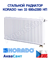 Стальной радиатор Korado 33vk 600x2300 нижнее подключение