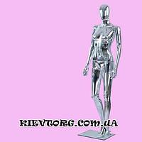 Манекен женский серебрянный хромированый аренда