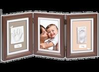 Двойная рамочка с отпечатком Baby Art, коричневая с бежевым