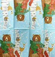 """Салфетка декупажная 21x21см 27 """"Звериное празднование Рождества в лесу"""""""
