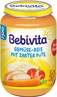 """Bebivita. Овоще-мясное пюре """"Овощи и рис с нежной индейкой"""" 8 мес+ 220 г (1044)"""