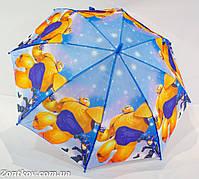 """Детский зонтик трость с героями из мультфильма """"Город героев"""" на 5-9 лет."""