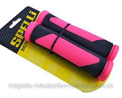 Грипсы велосипедные Spelli SBG-692, розовые, 125 мм.