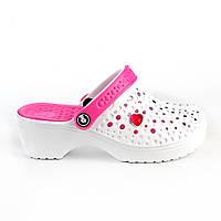 Кроксы, сабо белые / розовая середина, на каблуке. Размеры 36, 37, 38, 39, 40. JoAm 117100.