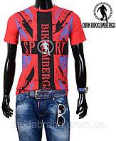 Стильная молодежная мужская футболка красная