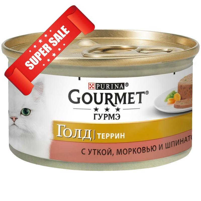 Влажный корм для кошек Purina Gourmet Gold Террин с уткой, морковью и шпинатом 85 г