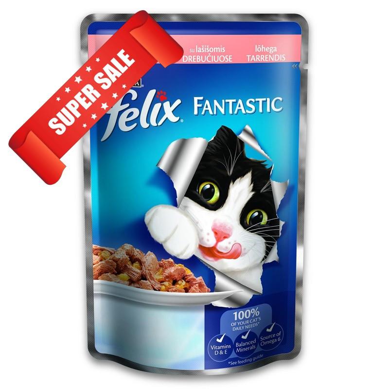 Влажный корм для кошек Purina Felix Fantastic с лососем в желе 100 г