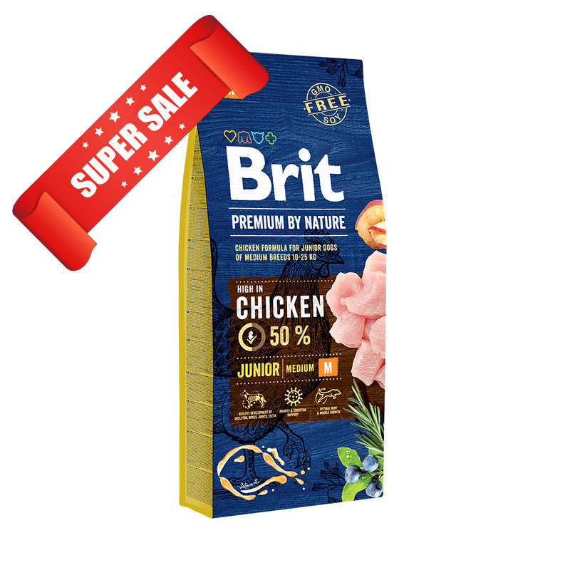 Сухой корм для собак Brit Premium Junior M Chicken 15 кг