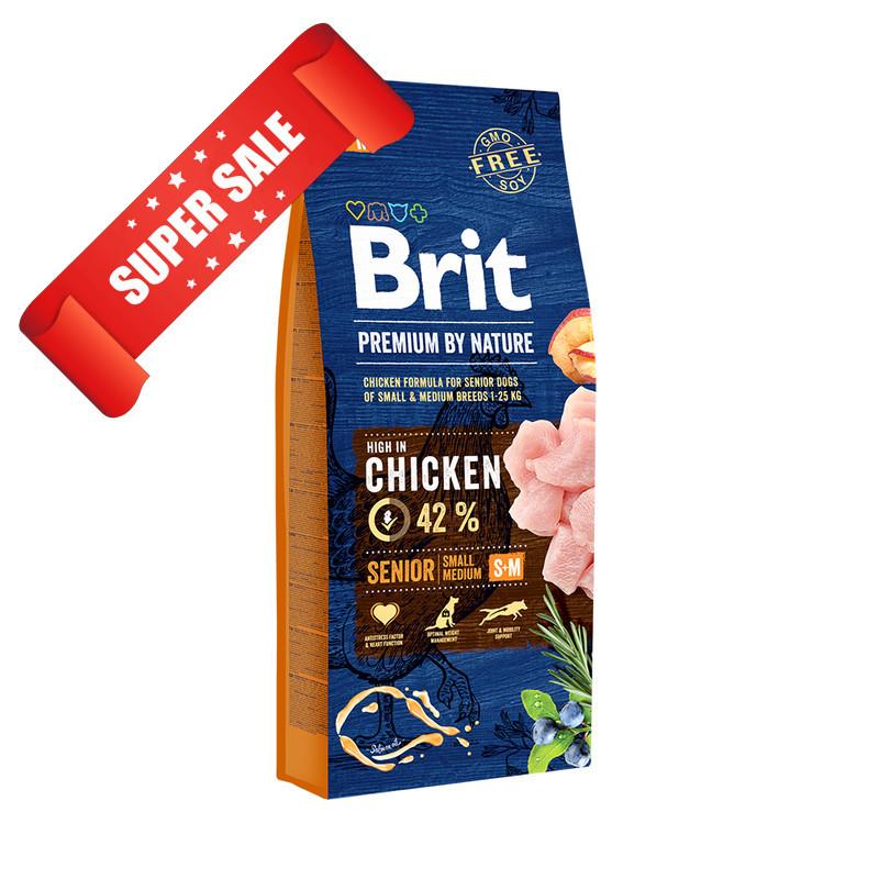 Сухой корм для собак Brit Premium Senior S+M Chicken 15 кг