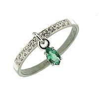 Серебряное кольцо с цирконием и  изумрудом Event 16 000019091