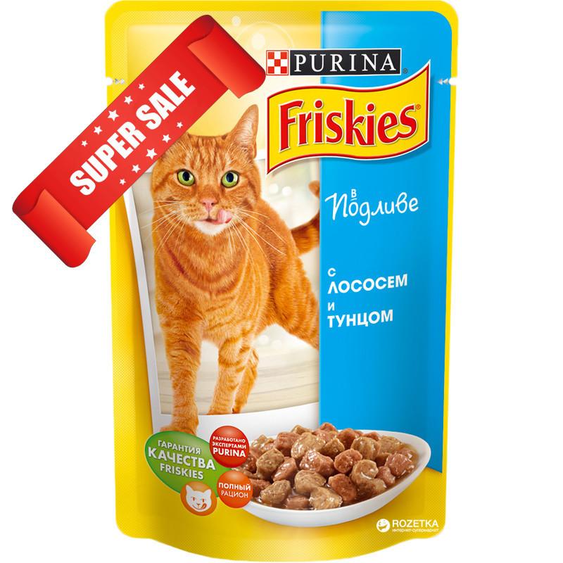 Влажный корм для котов Purina Friskies с лососем и тунцом в подливе 100 г