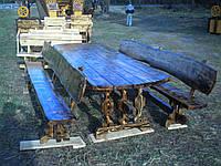 Стол с лавочками деревянный комплект, 3м