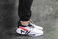 Мужские кроссовки белые с синим Fila 8019