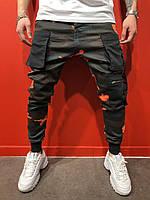 Мужские джинсы с манжетами оранжевый камуфляж