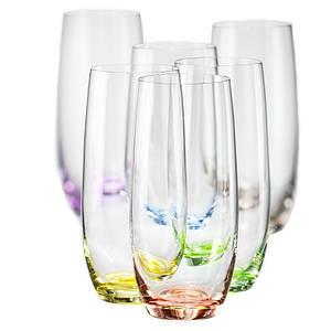 Набор стаканов для воды с цветным дном Bohemia Rainbow 25180/D4662/350 - 350 мл, 6 предметов
