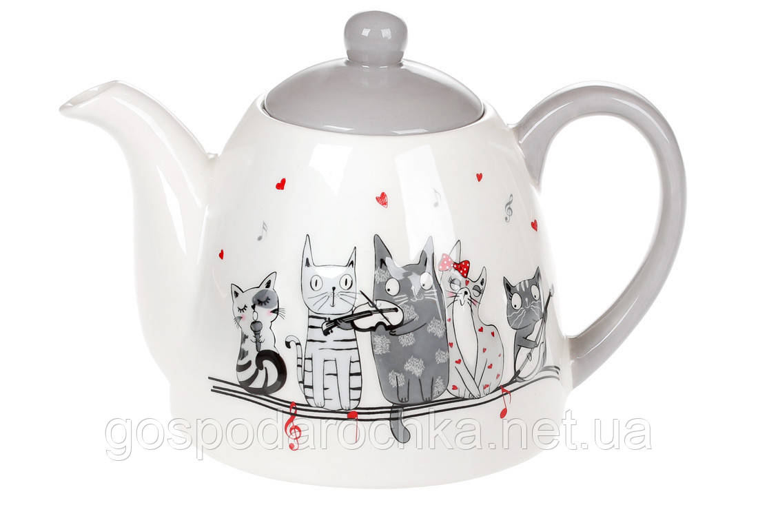 Чайник керамический с объемным рисунком Ночная серенада, 800мл