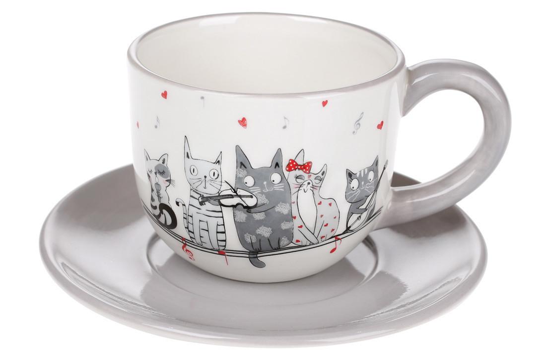 Чашка 240мл с блюдцем керамическая с объемным рисунком Ночная серенада