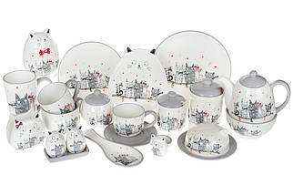 Чашка 240мл с блюдцем керамическая с объемным рисунком Ночная серенада, фото 3