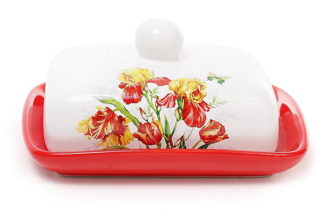 Масленка кухонная керамическая 18см Касатик