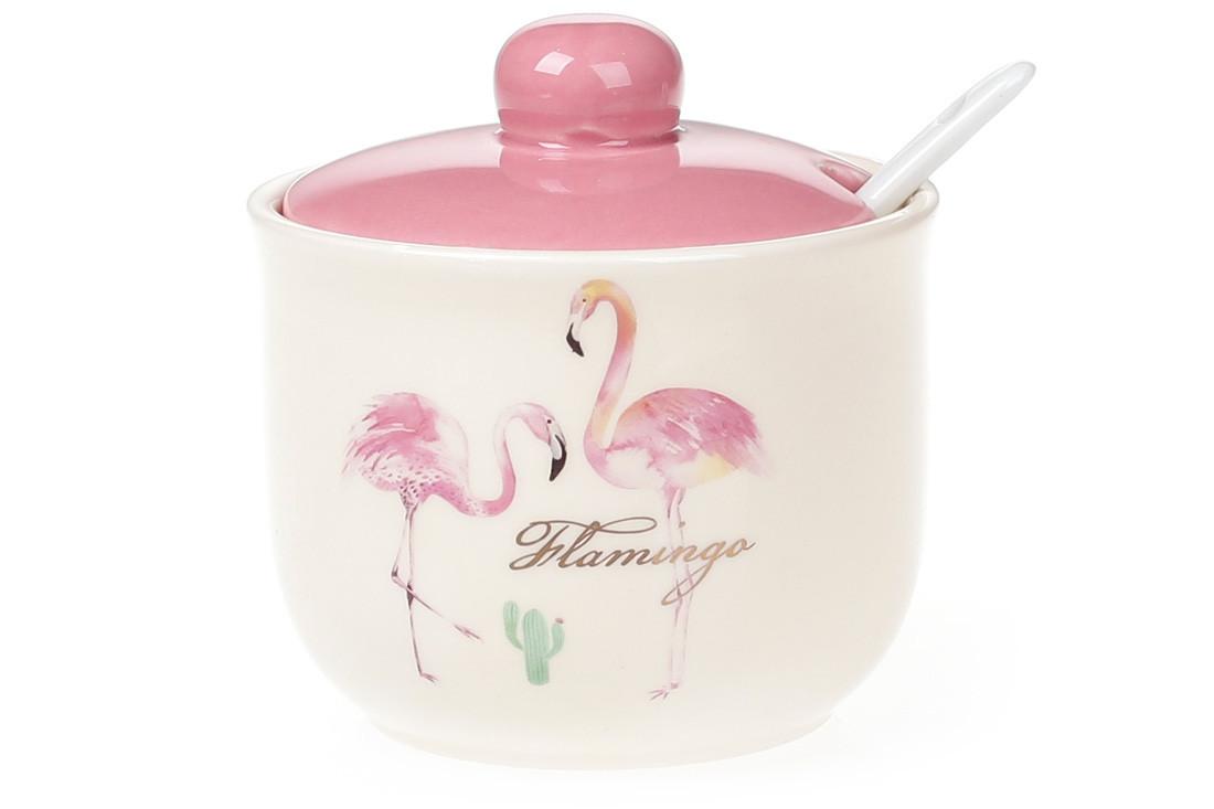 Сахарница керамическая 350мл с ложкой, Розовый Фламинго с золотой надписью