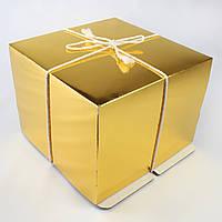 Коробка для торта, Золото-Белая, 26х26х20 см