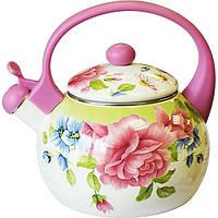 Чайник эмалированный 2.2 л со свистком.