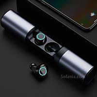 Wi-pods S2 Bluetooth навушники бездротові водонепроникні із зарядним чохлом-кейсом. металік
