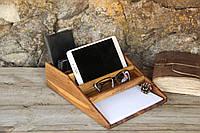 Деревянный органайзер, подставка на рабочий стол, для гаджетов и канц. принадлежностей «Канцелярский набор»