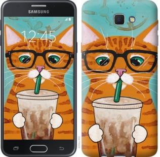 """Чехол на Samsung Galaxy J5 Prime Зеленоглазый кот в очках """"4054u-465-19380"""""""