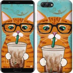 "Чехол на Huawei Honor V10 / View 10 Зеленоглазый кот в очках ""4054u-1579-19380"""