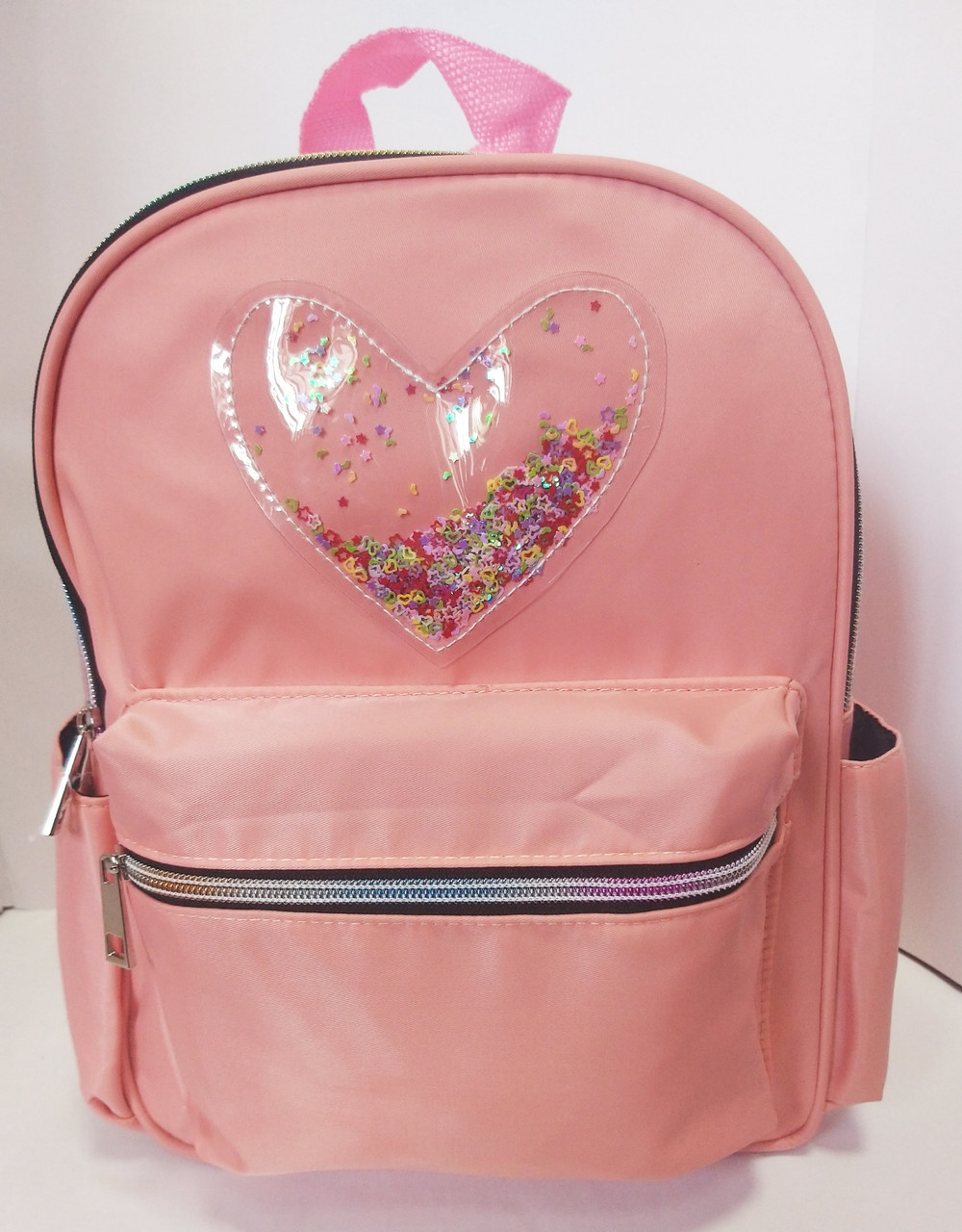 Рюкзак детский Сердце прозрачное с блестками 704